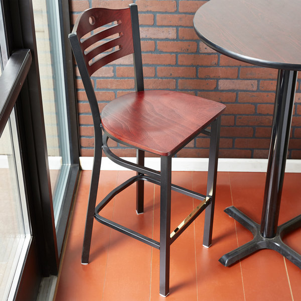 Detached Seat Lancaster Table & Seating Mahogany Finish Bar Height Bistro Chair - Eagle Back