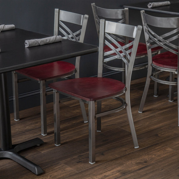 Detached Seat Lancaster Table & Seating Cross Back Clear Coat Steel Chair with Mahogany Seat