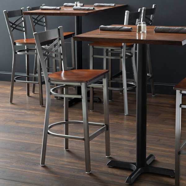 Detached Seat Lancaster Table & Seating Clear Coat Steel Cross Back Bar Height Chair with Antique Walnut Seat