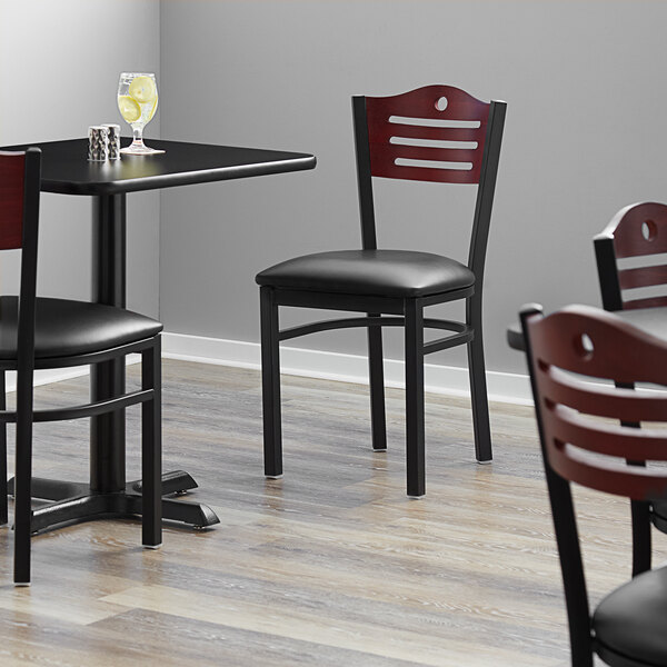 """Lancaster Table & Seating Mahogany Finish Bistro Dining Chair with 1 1/2"""" Padded Seat Main Image 4"""