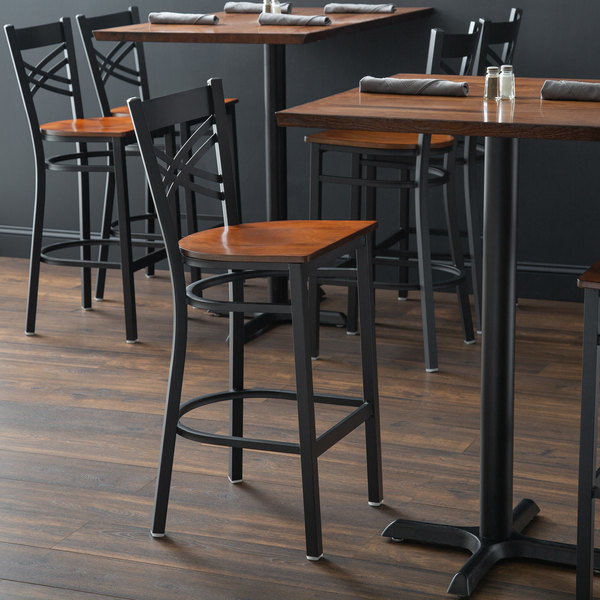 Detached Seat Lancaster Table & Seating Black Cross Back Bar Height Chair with Antique Walnut Seat