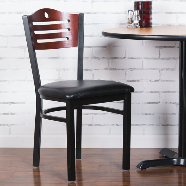 """Detached Seat Lancaster Table & Seating Mahogany Finish Bistro Dining Chair with 1 1/2"""" Padded Seat"""