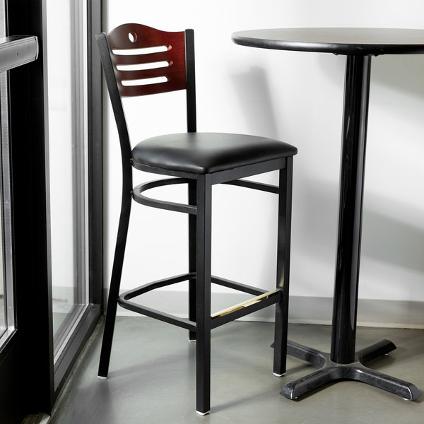 """Detached Seat Lancaster Table & Seating Mahogany Finish Bar Height Bistro Chair with 2"""" Padded Seat"""