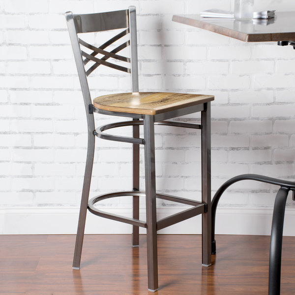 Detached Seat Lancaster Table & Seating Clear Coat Steel Cross Back Bar Height Chair with Driftwood Seat