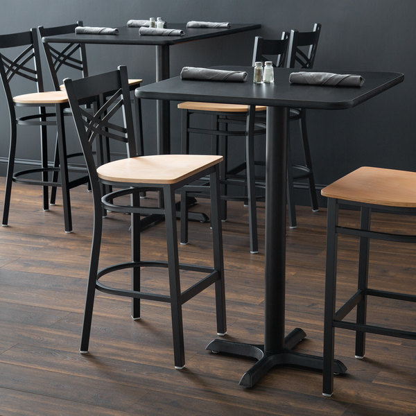 Detached Seat Lancaster Table & Seating Cross Back Black Bar Height Chair with Natural Seat