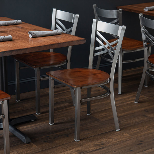 Detached Seat Lancaster Table & Seating Clear Coat Steel Cross Back Chair with Antique Walnut Seat