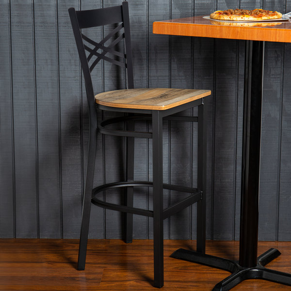 Detached Seat Lancaster Table & Seating Black Cross Back Bar Height Chair with Driftwood Seat
