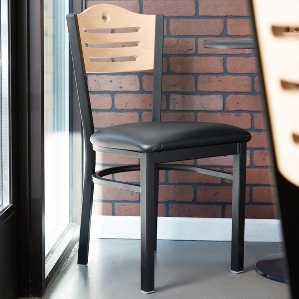 """Detached Seat Lancaster Table & Seating Natural Finish Bistro Dining Chair with 1 1/2"""" Padded Seat"""