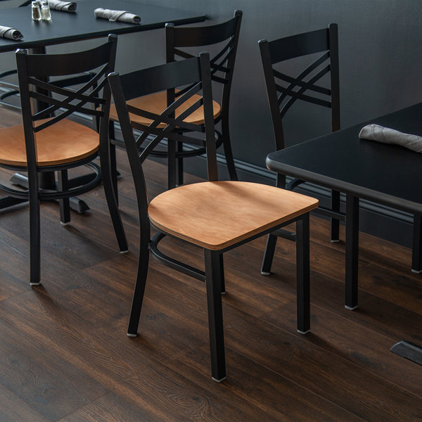 Detached Seat Lancaster Table & Seating Cross Back Black Chair with Natural Seat