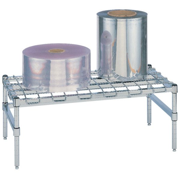 """Metro HP53C 36"""" x 24"""" x 14 1/2"""" Heavy Duty Chrome Dunnage Rack with Wire Mat - 1600 lb. Capacity"""
