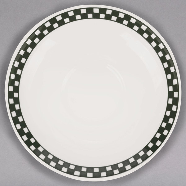 "Homer Laughlin 2821636 Black Checkers 6"" Creamy White / Off White China Boston Saucer - 36/Case"