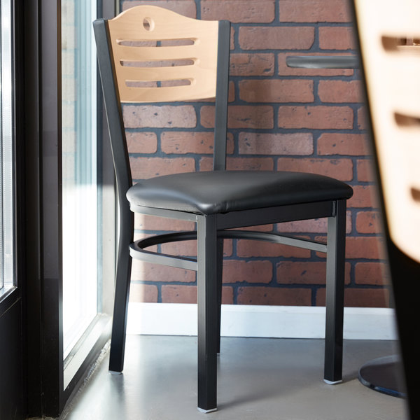 """Lancaster Table & Seating Natural Finish Bistro Dining Chair with 1 1/2"""" Padded Seat"""