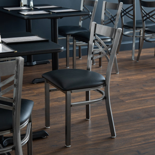 """Lancaster Table & Seating Clear Coat Steel Cross Back Chair with 2 1/2"""" Black Padded Seat"""