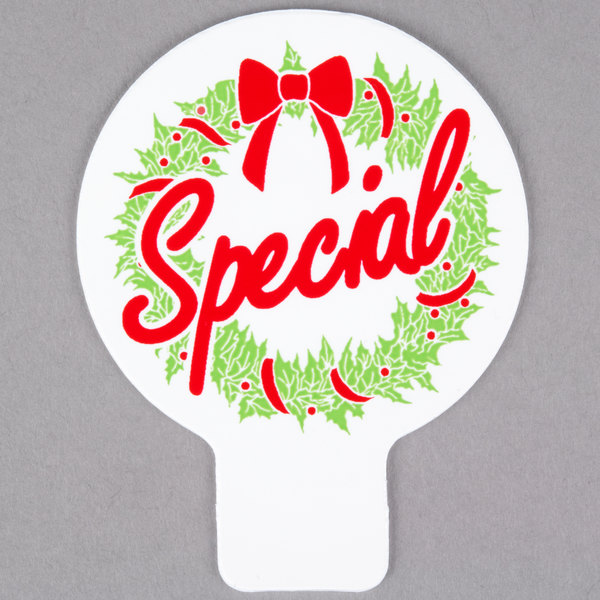 Holiday Wreath Deli Tag Topper - SPECIAL - Green and Red