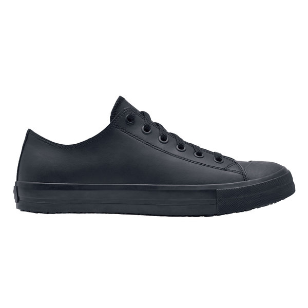 Shoes For Crews 38649 Delray Men's Black Water-Resistant Soft Toe Non-Slip Leather Casual Shoe