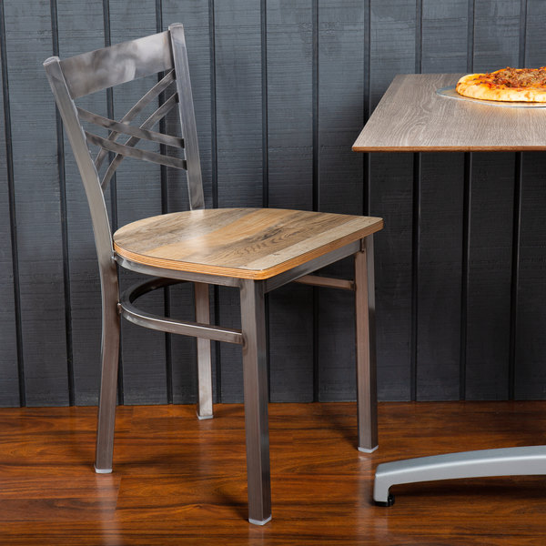 Lancaster Table & Seating Clear Coat Steel Cross Back Chair with Driftwood Seat Main Image 4