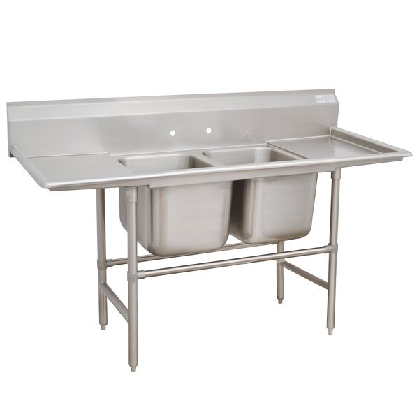 """Advance Tabco 94-42-48-24RL Spec Line Two Compartment Pot Sink with Two Drainboards - 101"""""""