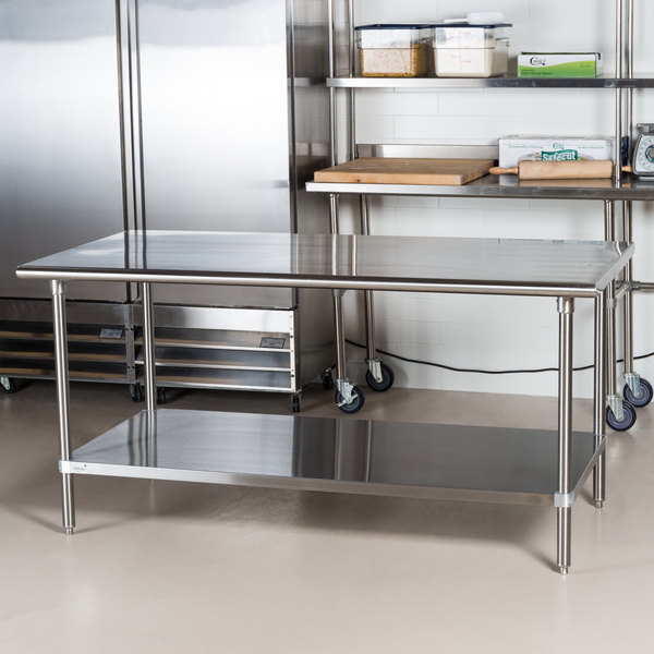 "Advance Tabco Premium Series SS-366 36"" x 72"" 14 Gauge Stainless Steel Commercial Work Table with Undershelf"