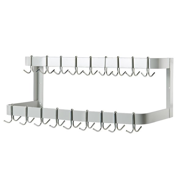 "Advance Tabco GW-108 108"" Powder Coated Steel Wall Mounted Pot Rack with 18 Double Prong Hooks Main Image 1"
