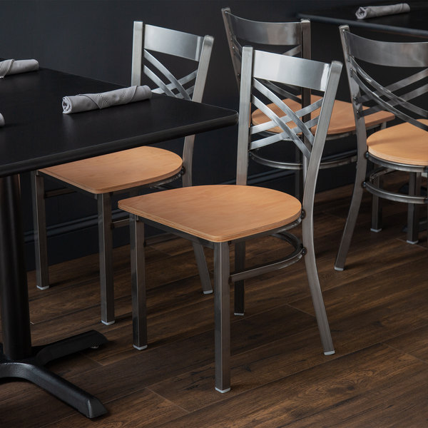 Lancaster Table & Seating Cross Back Clear Coat Steel Chair with Natural Seat Main Image 3
