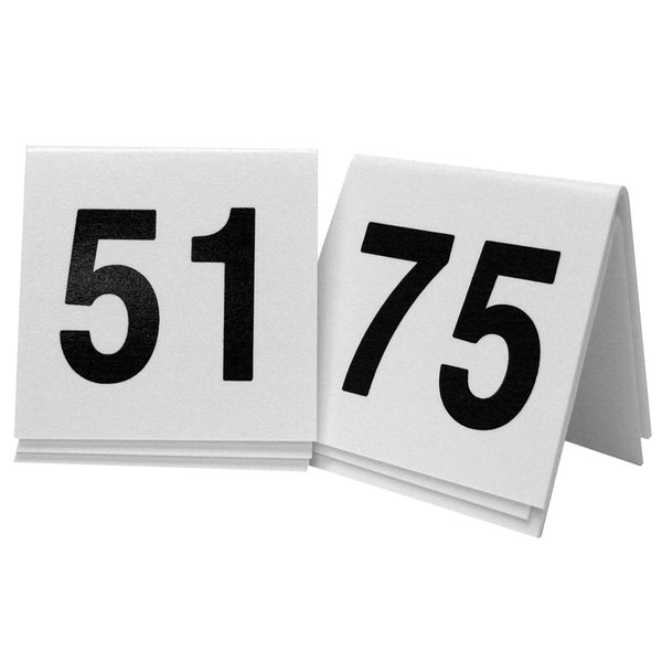 """Cal-Mil 227-2 White/Black Double-Sided Number Tents 51-75 - 3"""" x 3"""""""