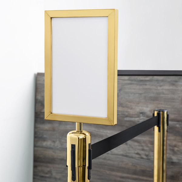 "Lancaster Table & Seating 8 1/2"" x 12 1/2"" Gold Removable Steel Stanchion Vertical Sign Frame Main Image 3"