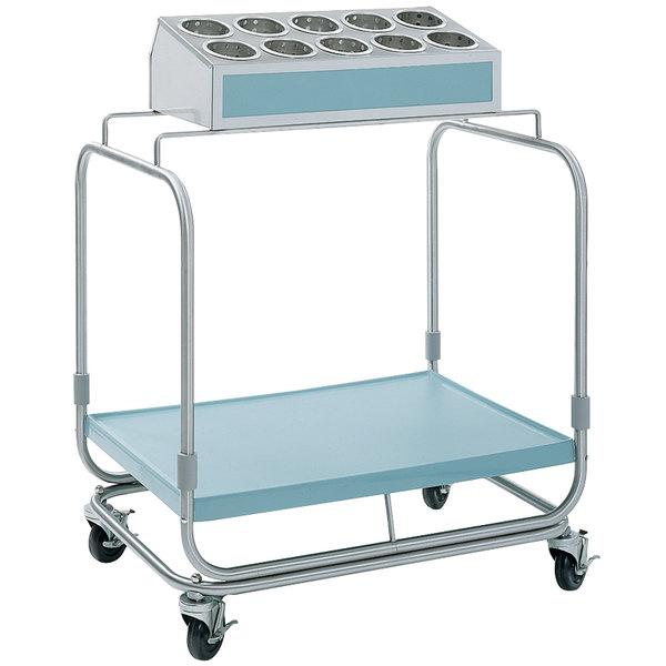 Delfield UTS-1 Tray and Silverware Cart with 10 Hole Flatware Bin and Fiberglass Tray Shelf