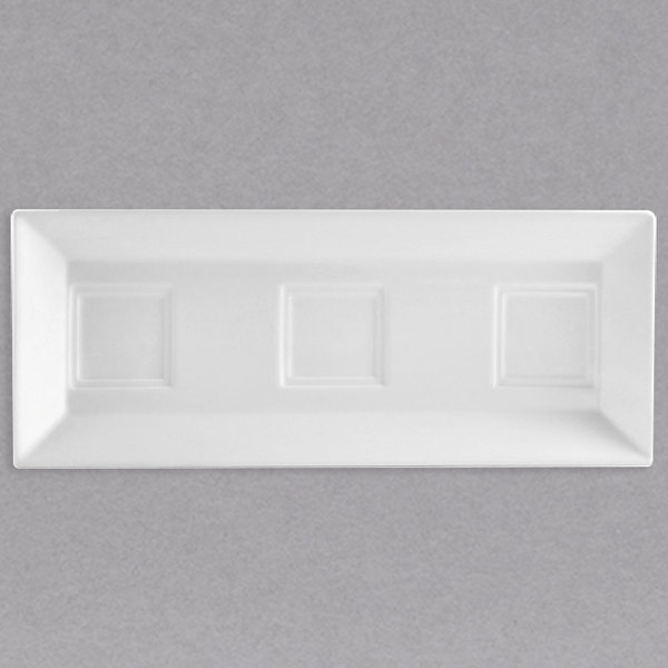 """CAC CTY-RT10 Citysquare 12"""" x 4 3/4"""" Bright White Porcelain Tray with 3 Bowl Holders - 24/Case"""