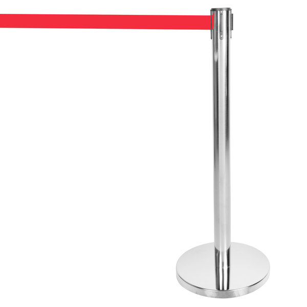 "Aarco HS-7 Satin 40"" Crowd Control / Guidance Stanchion with 84"" Red Retractable Belt Main Image 1"
