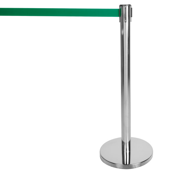 """Aarco HC-7 Chrome 40"""" Crowd Control / Guidance Stanchion with 84"""" Green Retractable Belt Main Image 1"""