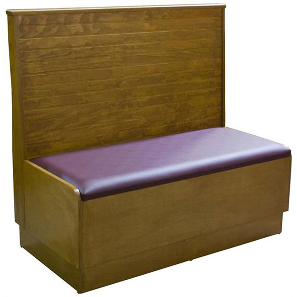 """American Tables & Seating AS36-WBB-PS Bead Board Back Platform Seat Single Wood Booth - 36"""" High"""