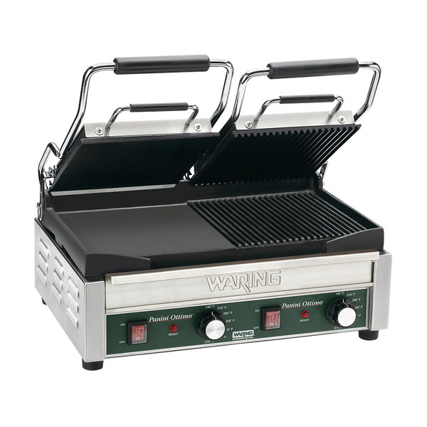 "Waring WDG300 Two Grooved & Two Smooth Plate Panini Sandwich Grill - 17"" x 9 1/4"" Cooking Surface - 240V, 3120W"