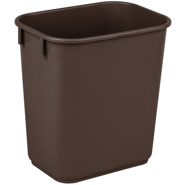 Continental 1358BN 13.6 Qt. / 3 Gallon Brown Rectangular Wastebasket / Trash Can Main Image 1