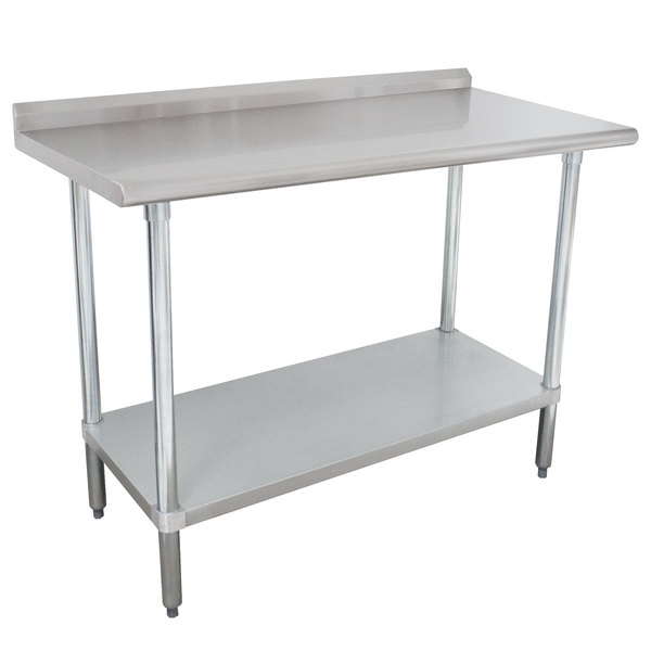 "Advance Tabco SFLAG-244-X 24"" x 48"" 16 Gauge Stainless Steel Work Table with 1 1/2"" Backsplash and Stainless Steel Undershelf"