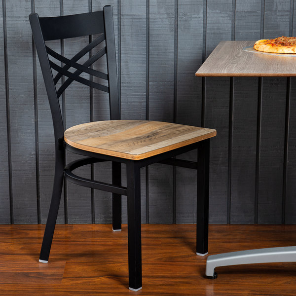 Lancaster Table & Seating Black Cross Back Chair with Driftwood Seat Main Image 4