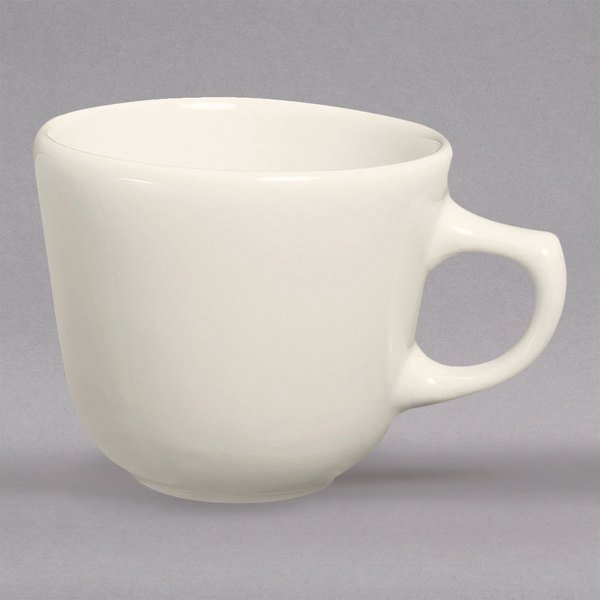 Homer Laughlin 10400 7 oz. Ivory (American White) Rolled Edge Texas China Cup - 36/Case