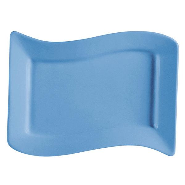 "CAC SOH-13LB Color Soho 12"" x 8"" Rectangular China Platter - Light Blue - 12/Case"