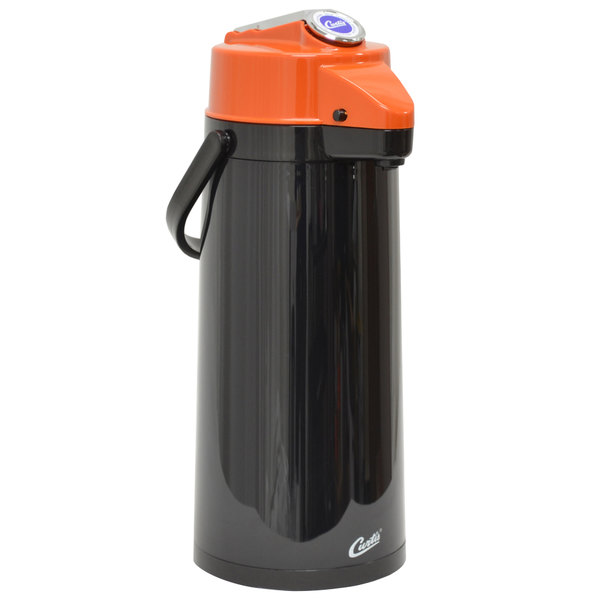 Curtis TLXA2203G000D 2.2 Liter Black Lever Airpot with Glass Liner and Orange Top Main Image 1