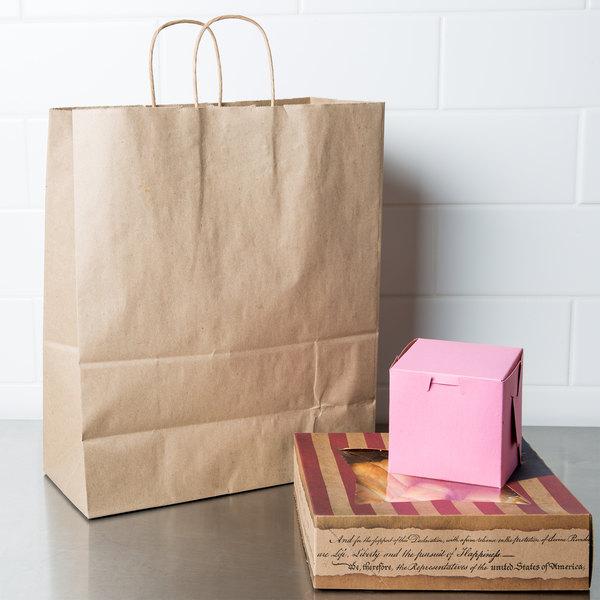 "Duro Traveler 13"" x 6"" x 15 3/4"" Brown Shopping Bag with Handles - 250/Bundle"