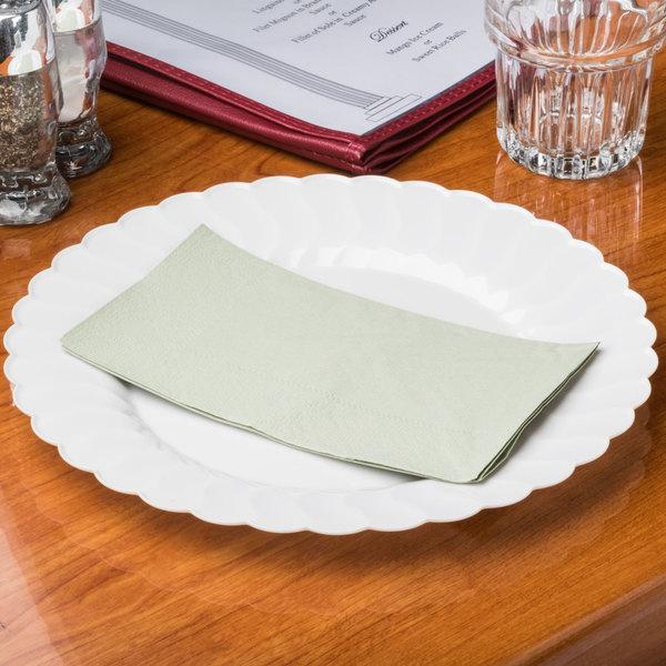 "Hoffmaster 180546 Soft Sage Green 15"" x 17"" 2-Ply Paper Dinner Napkin - 1000/Case Main Image 6"