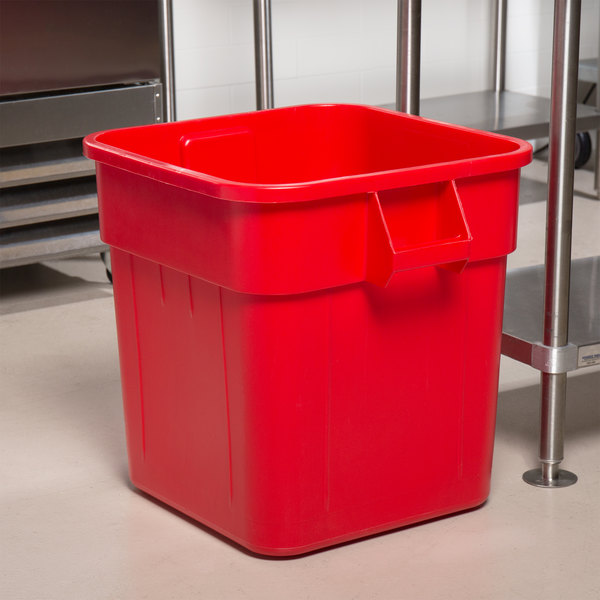 Continental 2800RD Huskee 32 Gallon Red Square Trash Can Main Image 8