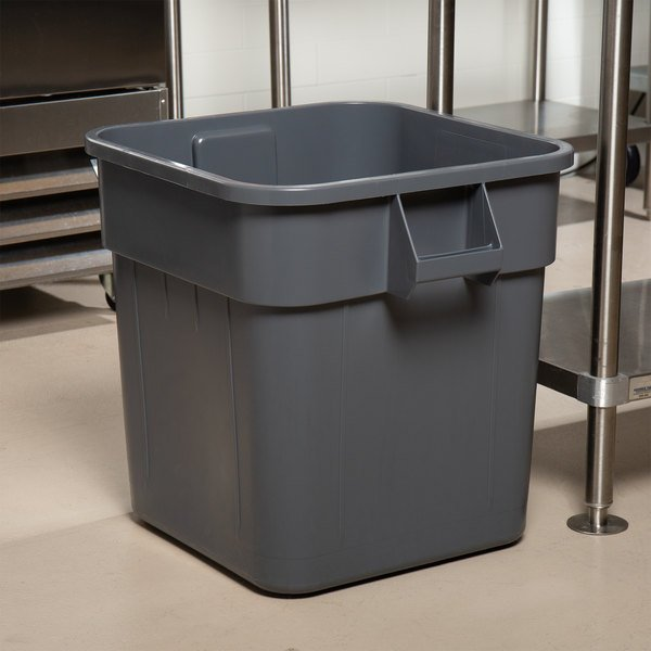 Continental 2800GY Huskee 32 Gallon Gray Square Trash Can Main Image 8