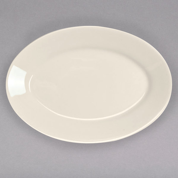 """Homer Laughlin 15400 10 1/2"""" Ivory (American White) Rolled Edge Oval China Platter - 24/Case"""