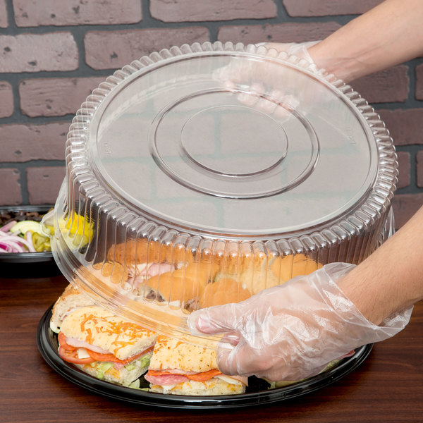 """Sabert 5516 16"""" Clear Plastic Round High Dome Lid - 3/Pack"""