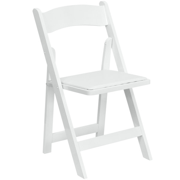 Flash Furniture XF-2901-WH-WOOD-GG White Wood Folding Chair with Padded Seat  sc 1 st  WebstaurantStore & Flash Furniture XF-2901-WH-WOOD-GG White Wood Folding Chair with ...