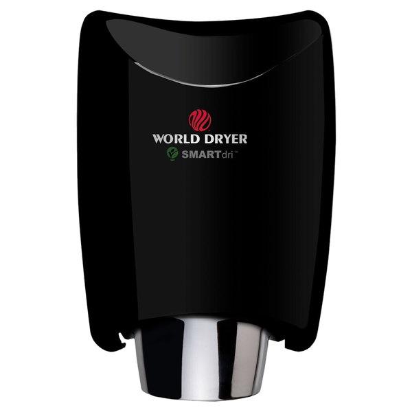 World Dryer K-162P2 SMARTdri Plus Black Aluminum Surface-Mounted Hand Dryer - 110-120V, 1200W Main Image 1