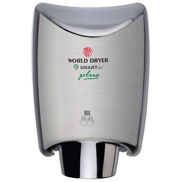 World Dryer K-973P2 SMARTdri Plus Brushed Stainless Steel Surface-Mounted Hand Dryer - 110-120V, 1200W Main Image 1