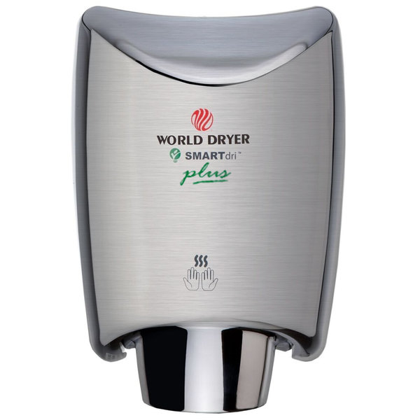 World Dryer K4-973P2 SMARTdri Plus Brushed Stainless Steel Surface-Mounted Hand Dryer - 208-240V, 1250W Main Image 1