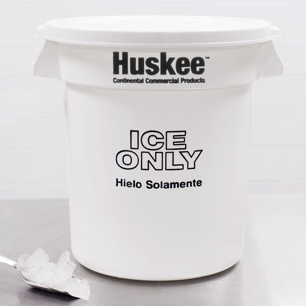 "Continental 1001-ICE Huskee 10 Gallon White ""Ice Only"" Ice Bucket with Lid"
