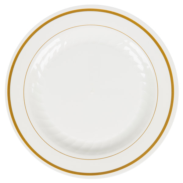 WNA Comet MP6IPREM 6 inch Ivory Masterpiece Plate with Gold Accent Bands 15 / Pack